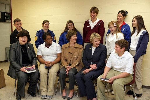 Laura Bush and U.S. Secretary of Education Margaret Spellings meet with staff and students Wednesday, Jan. 26, 2006 at the St. Bernard Unified School in Chalmette, La. White House photo by Shealah Craighead