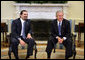 "President George W. Bush meets with Lebanese Parliment member Saad Hariri in the Oval Office Friday, Jan. 27, 2006. ""We've just had a very interesting and important discussion about our mutual desire for Lebanon to be free; free of foreign influence, free of Syrian intimidation, free to chart its own course,"" said the President.  White House photo by Paul Morse"