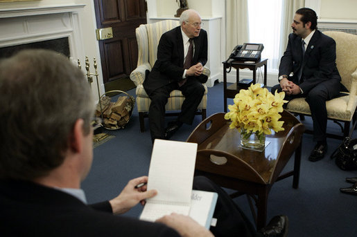 Vice President Dick Cheney meets with Lebanese Parliament member Saad Hariri, Friday January 25, 2006. Earlier in the day Mr. Hariri met President George W. Bush in the Oval Office and discussed the pursuit of democratic freedom and economic revitalization in Lebanon. White House photo by Kimberlee Hewitt