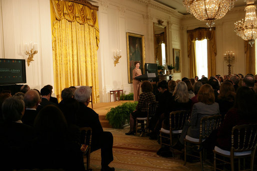 Laura Bush delivers remarks during the 2005 National Awards for Museum and Library Services Ceremony at the White House, Monday, January 30, 2006. The Institute of Museum and Library Services' National Awards for Museum and Library Service honor outstanding museums and libraries that demonstrate an ongoing institutional commitment to public service. It is the nation's highest honor for excellence in public service provided by these institutions. White House photo by Shealah Craighead