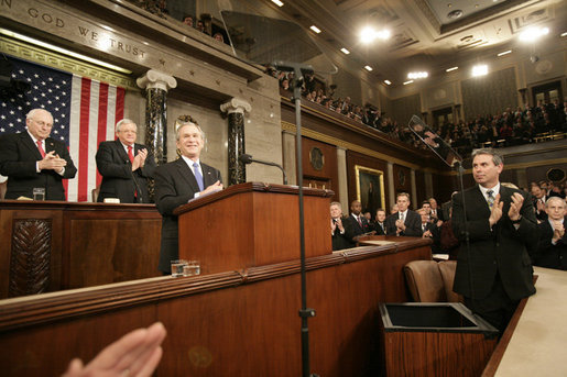 President George W, Bush is applauded as he delivers his State of the Union remarks Tuesday, Jan. 31, 2006 at the United States Capitol. White House photo by Eric Draper