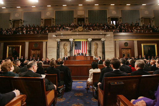 President George W, Bush delivers his State of the Union remarks Tuesday, Jan. 31, 2006 at the United States Capitol. White House photo by Eric Draper