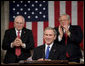 President George W. Bush reacts to applause during his State of the Union Address at the Capitol, Tuesday, Jan. 31, 2006. White House photo by Eric Draper