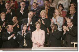Laura Bush is applauded as she is introduced Tuesday evening, Jan. 31, 2006 during the State of the Union Address at United States Capitol in Washington. White House photo by Eric Draper