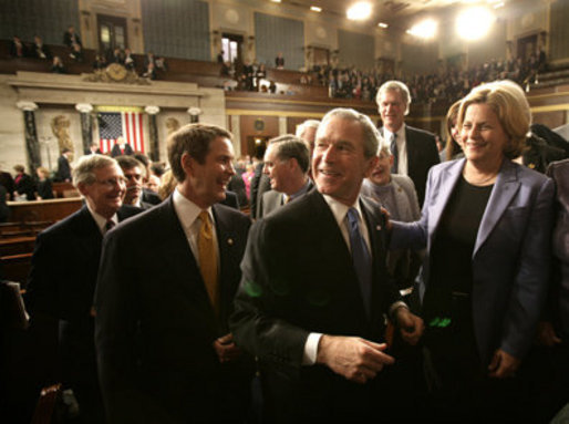 President George W. Bush greets members of Congress after his State of the Union Address at the Capitol, Tuesday, Jan. 31, 2006. White House photo by Eric Draper
