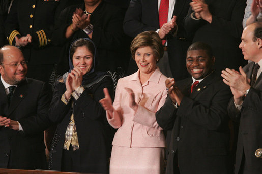 Laura Bush and the invited guets in her box applaud the speech of President George W. Bush, Tuesday evening, Jan. 31, 2006 during the State of the Union Address at United States Capitol in Washington. White House photo by Paul Morse