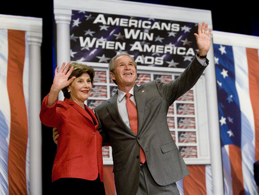 President George W. Bush and Mrs. Bush wave to the audience following the President's remarks on the 2006 agenda, Wednesday, Feb. 1, 2006 at the Grand Ole Opry House in Nashville. White House photo by Eric Draper