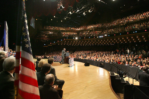 "President George W. Bush delivers remarks on the 2006 agenda, Wednesday, Feb. 1, 2006 at the Grand Ole Opry House in Nashville, Tennessee. The President told the audience, "".during times of uncertainty it's important for me to do what I'm doing today, which is to explain the path to victory, to do the best I can to articulate my optimism about the future. White House photo by Eric Draper"