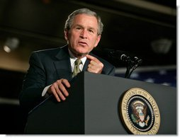 President George W. Bush delivers remarks on American competitiveness at the 3M Corporation in Maplewood, Minn., Thursday, Feb. 2, 2006.  White House photo by Eric Draper