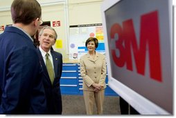 President George W. Bush and Laura Bush tour the 3M Research and Development Laboratory in Maplewood, Minn., Thursday, Feb. 2, 2006.  White House photo by Eric Draper