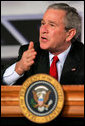 President George W. Bush speaks during a panel on American competitiveness at Intel Corporation Friday, Feb. 3, 2006, in Rio Rancho, N.M. White House photo by Eric Draper