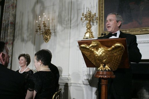 President George W. Bush addresses guests Monday evening, Feb. 6, 2006 in the State Dining Room at the White House to honor The Dance Theatre of Harlem. White House photo by Kimberlee Hewitt