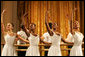 Young dancers from The Dance Theatre Harlem perform during a dinner held at the White House Monday, February 6, 2006. The Dance Theatre of Harlem offers training to more than 1,000 young adults annually and has taken arts education to young people all over the world. White House photo by Shealah Craighead