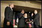 President George W. Bush participates in the swearing-in ceremony Monday, Feb. 6, 2006, for Ben Bernanke as Chairman of the Federal Reserve. Vice Chairman Roger W. Ferguson, Jr., administers the oath of office to Chairman as Mrs. Anna Bernanke, the Chairman's wife, holds the Bible. White House photo by Kimberlee Hewitt