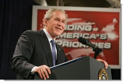 President George W. Bush addresses his remarks on the 2007 Budget and the Deficit Reduction Act of 2005, in a speech to the Business and Industry Association of New Hampshire, Wednesday, Feb. 8, 2006 in Manchester, N.H.  White House photo by Paul Morse