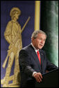 President George W. Bush addresses his remarks on the global war on terror Thursday, Feb. 9, 2006 to an audience at the National Guard Memorial Building in Washington. White House photo by Paul Morse
