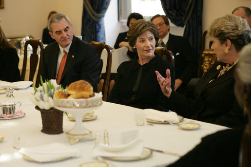 Mrs. Laura Bush listens as she participates in a briefing presented by the USUN Mission and World Food Program, Thursday, Feb. 9, 2006 in Rome, regarding hunger and AIDS issues. One of the purposes of the U.S. Mission to the UN agencies for Food and Agriculture is to draw attention to the global problems of hunger and food security. Ambassador Ronald Spogli, U.S. Ambassador to Italy, is seen at left. White House photo by Shealah Craighead