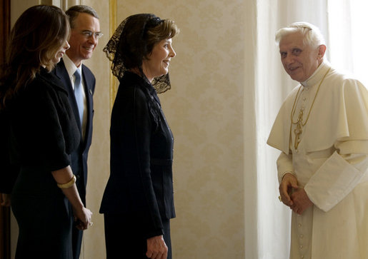 Mrs. Laura Bush, daughter Barbara Bush and Francis Rooney, U.S. Ambassador to the Vatican, are welcomed by Pope Benedict XVI, Thursday, Feb. 9, 2006 at the Vatican. White House photo by Shealah Craighead