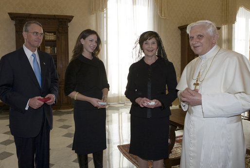Mrs. Laura Bush, daughter Barbara Bush and Francis Rooney, U.S. Ambassador to the Vatican, meet in a private audience with Pope Benedict XVI, Thursday, Feb. 9, 2006 at the Vatican. White House photo by Shealah Craighead