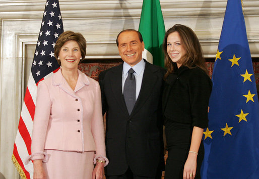 Mrs. Laura Bush and daughter, Barbara Bush, are greeted by Italian Prime Minister Silvio Berlusconi, Thursday, Feb. 9, 2006 at the Villa Madama in Rome. White House photo by Shealah Craighead