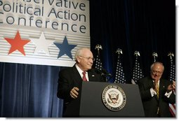 "Vice President Dick Cheney is welcomed before delivering the keynote address at the 33rd Annual Conservative Political Action Conference Dinner in Washington, Thursday, February 9, 2006. During his remarks on the 2006 Agenda the Vice President commented on the steadfast nature of the American people and said, ""in these five years we've been through a great deal as a nation. Yet with each test, the American people have displayed the true character of our country. We have built for ourselves an economy and a standard of living that are the envy of the world. We have faced dangers with resolve. And we have been defended by some of the bravest men and women this nation has ever produced."" White House photo by Kimberlee Hewitt"