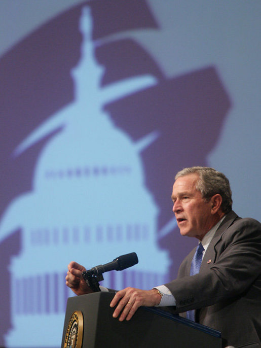 President George W. Bush gestures as he addresses an audience Friday, Feb. 10, 2006 at the House Republican Conference in Cambridge, Md. White House photo by Kimberlee Hewitt