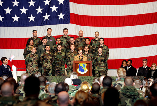 Mrs. Laura Bush addresses an audience of U.S.troops during a visit to Aviano Air Base, in Aviano, Italy, Friday, Feb. 10, 2006. White House photo by Shealah Craighead