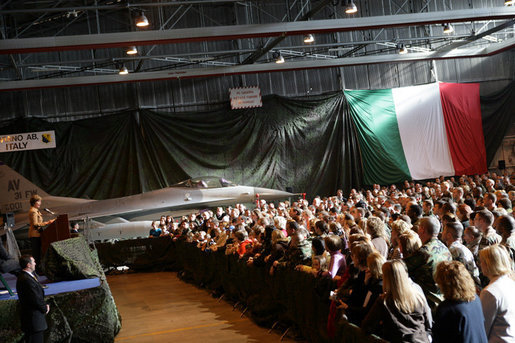 Laura Bush addresses an audience of U.S. troops during a visit to Aviano Air Base, in Aviano, Italy, Friday, Feb. 10, 2006. White House photo by Shealah Craighead