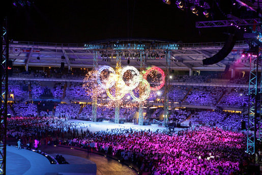 Fireworks in the design of the Olympic rings is a highlight moment during the 2006 Winter Olympics opening ceremony in Turin, Italy, Friday, Feb. 10, 2006. White House photo by Shealah Craighead