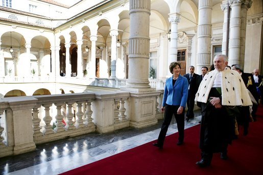 Laura Bush is guided on a tour of the Ancient Library at the University of Turin by Enrico Artifoni, Library President Saturday, Feb. 11, 2006, in Turin, Italy. White House photo by Shealah Craighead