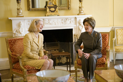 Laura Bush shares a moment with Nane Annan, wife of UN Secretary General Kofi Annan, Monday, Feb. 13, 2006, during a morning meeting in the private residence at the White House. White House photo by Shealah Craighead