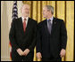 President George W. Bush speaks with Dr. Phillip A. Sharp of the Massachusetts Institute of Technology prior to being presented a National Medal of Science, Monday, Feb. 13, 2006 during ceremonies in the East Room of the White House. Dr. Sharp is honored for his contributions to the understanding of RNA interference techniques to perform genetic analyses in mammalian cells. White House photo by Eric Draper