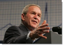 President George W. Bush addresses an audience Wednesday, Feb. 15, 2006 at Wendy's International, Inc. corporate headquarters in Dublin, Ohio, speaking on his commitment to help all Americans gain access to affordable, high-quality health care.  White House photo by Paul Morse