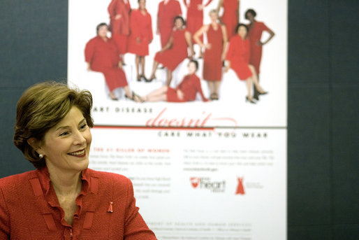 Laura Bush promotes American Heart Month Wednesday, Feb. 15, 2006, in Charlotte, NC, as part of the Heart Truth Campaign, which raises awareness of heart disease in women and encourages women to get screened for the disease. White House photo by Shealah Craighead