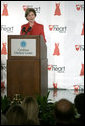 Laura Bush speaks to an audience about heart disease awareness at the Carolinas Medical Center Wednesday, Feb. 15, 2006, in Charlotte, NC. In Charlotte, 55% of women are at risk for heart disease and are not aware of their vulnerability of a heart attack. White House photo by Shealah Craighead
