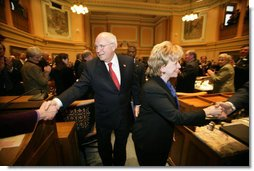 Vice President Dick Cheney and Mrs. Lynne Cheney shake hands with members of the Wyoming State Legislature as they depart the State Capitol in Cheyenne, Friday, February 17, 2006.  White House photo by David Bohrer