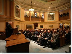Vice President Dick Cheney delivers remarks to a joint session of the Wyoming State Legislature at the State Capitol in Cheyenne, Friday, February 17, 2006.  White House photo by David Bohrer