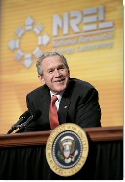 President George W. Bush participates in a panel discussion with experts on energy conservation and efficiency at the National Renewable Energy Laboratory in Golden, Colo., Tuesday, Feb. 21, 2006.  White House photo by Eric Draper