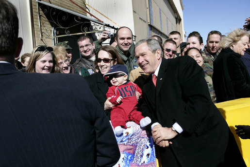 President George W. Bush visits with base personnel and their families before departing Buckley Air Force Base in Aurora, Colo. Tuesday, Feb. 21, 2006. White House photo by Eric Draper