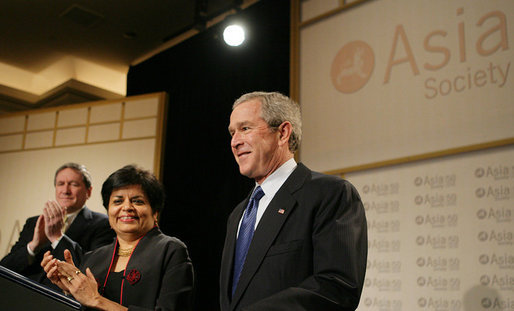 President George W. Bush is applauded as he is introduced to speak, Wednesday, Feb. 22, 2006 at the Asia Society meeting in Washington. President Bush talked about some of the issues he would address on his upcoming trip to India and Pakistan. White House photo by Paul Morse