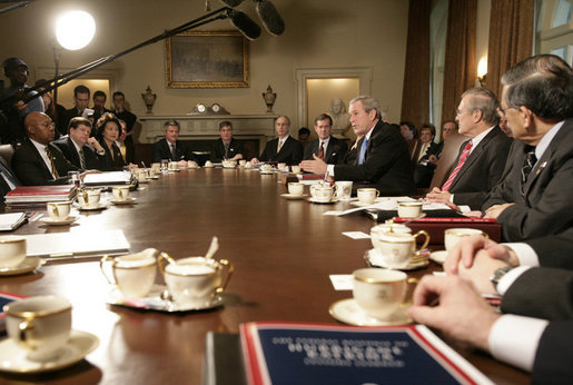 President George W. Bush answers reporters questions during a Cabinet meeting Thursday, Feb. 23, 2006 at the White House, where he condemned the destruction of the Golden Mosque in Iraq. White House photo by Eric Draper