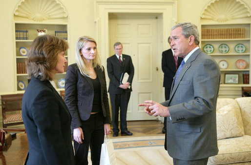 "President George W. Bush greets Irina Krasovskaya, left, and Svyatlana Zavadskaya, widows of a pro-democracy businessman and an independent journalist who ""disappeared"" in Belarus in 1999 and 2000 respectively. During a meeting on Monday, February 27, 2006 at the White House, the President discussed the state of democracy and human rights in Belarus in the run-up to the March 19 Belarusian presidential election, and stressed his commitment to support the people of Belarus in their effort to determine their own future. The United States is deeply concerned about the Belarusian government's conduct leading up to the election, harassment of civil society, and failure to investigate seriously the cases of the disappeared. White House photo by Paul Morse"