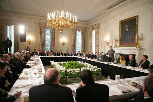President George W. Bush addresses a meeting of the National Governors Association, Monday, Feb. 27, 2006, in the State Dining Room of the White House. President Bush talked with the governors about the nation's economy, energy issues and the global war on terror. White House photo by Paul Morse