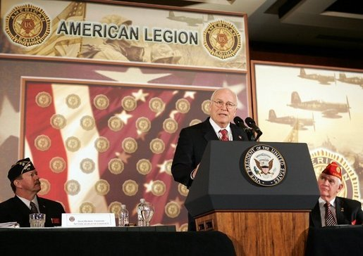 Vice President Dick Cheney delivers remarks to the 46th Annual American Legion Washington Conference, Tuesday, February 28, 2006. The Vice President addressed the global war on terror as well as the administration's goal of enhancing quality healthcare and service to veterans. White House photo by David Bohrer