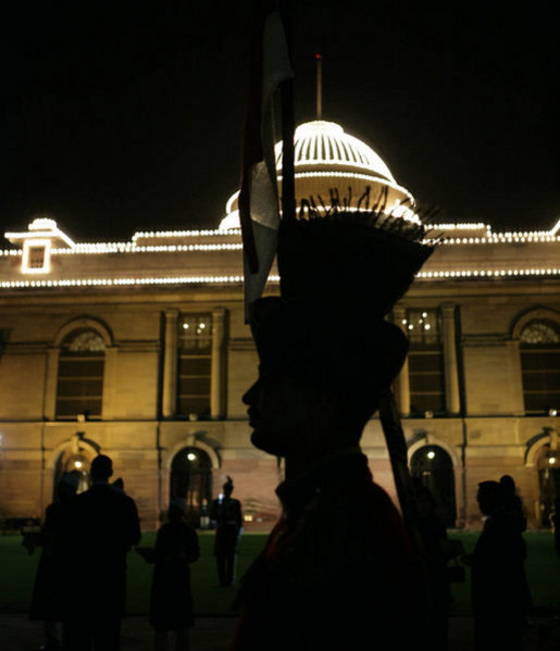 An honor guard stands outside Rashtrapati Bhavan, the presidential residence, in New Delhi, shortly after the arrival Thursday, March 2, 2006, of President George W. Bush and Laura Bush for the evening's State Dinner. White House photo by Eric Draper