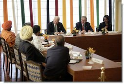President George W. Bush and Secretary of State Condoleezza Rice are joined by Ambassador David Mulford during a meeting with religious leaders Thursday, March 2, 2006, at the Maurya Sheraton Hotel and Towers in New Delhi.  White House photo by Eric Draper