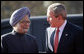 President George W. Bush is greeted by India's Prime Minister Manmohan Singh upon arrival Thursday, March 2, 2006, at the presidential residence in New Delhi. White House photo by Eric Draper
