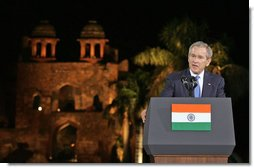 "President George W. Bush offers remarks Friday, March 3, 2006, at Purana Qila in New Delhi. The President told the audience, ""In a few days, I'll return to America, and I will never forget my time here in India. America is proud to call your democracy a friend.""  White House photo by Paul Morse"