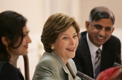 Mrs. Laura Bush addresses a roundtable discussion during an Education Through Partnerships meeting with representatives from USAID, UNESCO & CRI at library at the U.S. Embassy , Saturday, March 4, 2006 in Islamabad, Pakistan. White House photo by Shealah Craighead