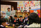 Mrs. Laura Bush observes a class lesson in the Children's Resources International clasroom at the U.S. Embassy , Saturday, March 4, 2006 in Islamabad, Pakistan. White House photo by Shealah Craighead